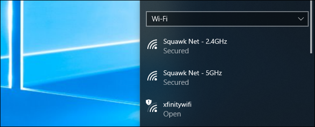 Wi-Fi network connection menu on Windows 10