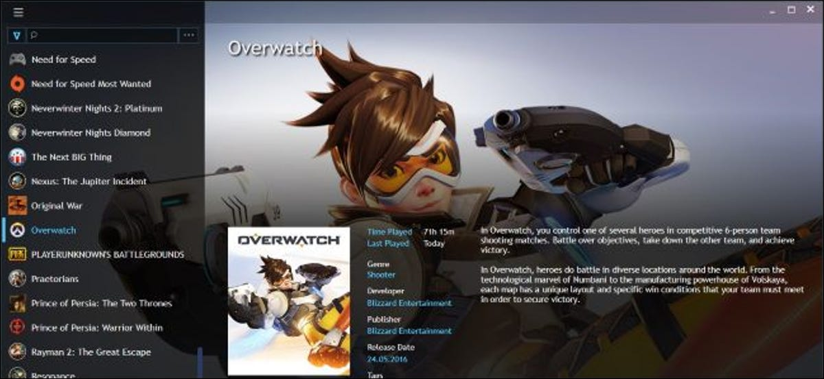 A Playnite PC gaming library showing Overwatch and other games