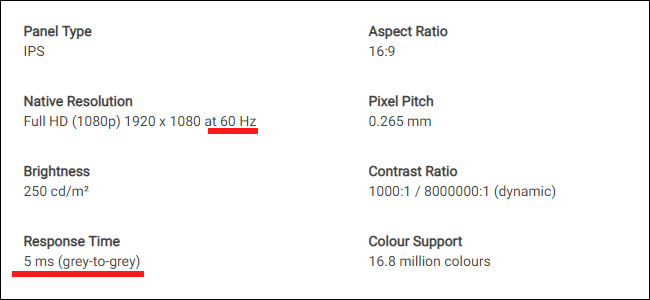 The spec sheet for a Dell monitor. Note the difference between refresh rate and response time.