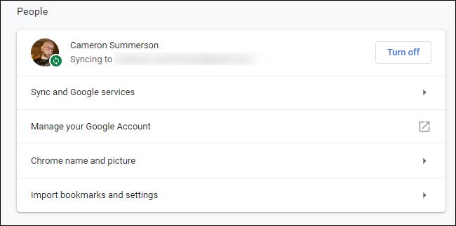 Sync options on Google Chrome 73