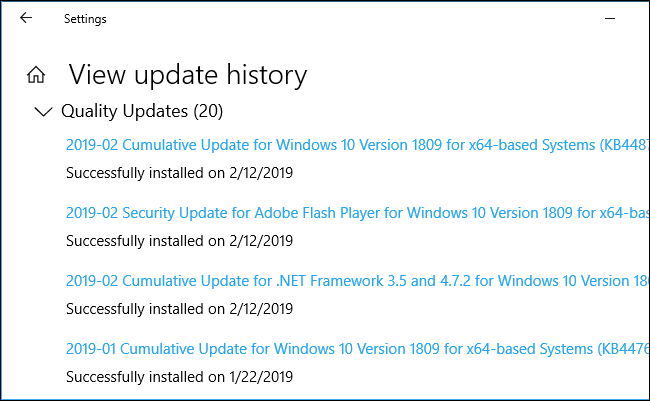 Quality updates in Windows 10's settings