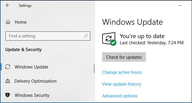 Windows Update settings on Windows 10