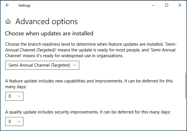 Advanced options for pausing and delaying updates on Windows 10