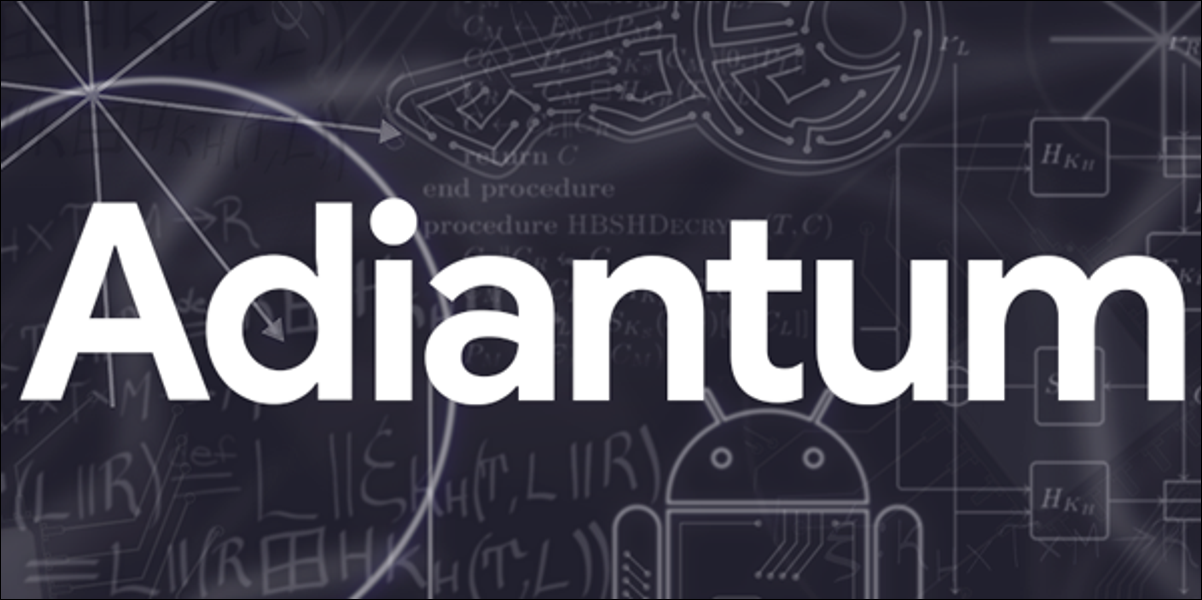 adiantum logo against a chalkboard full of android drawings