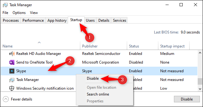 Disabling Skype's autostart option without signing in first.