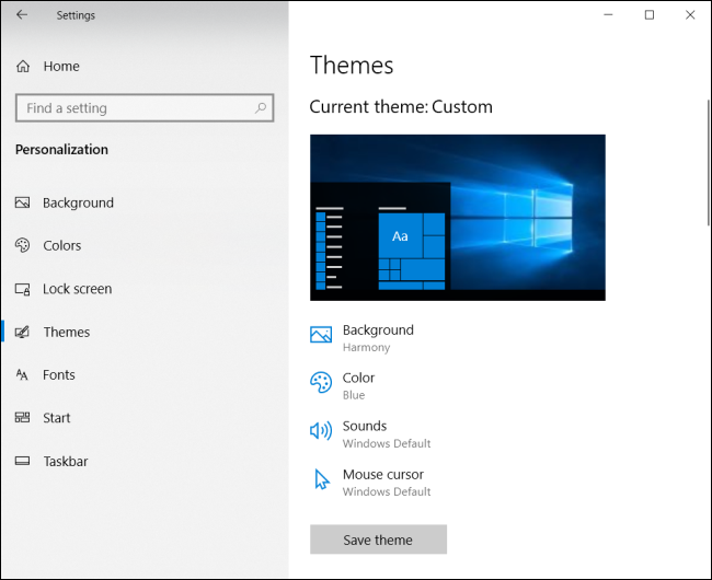 themes settings