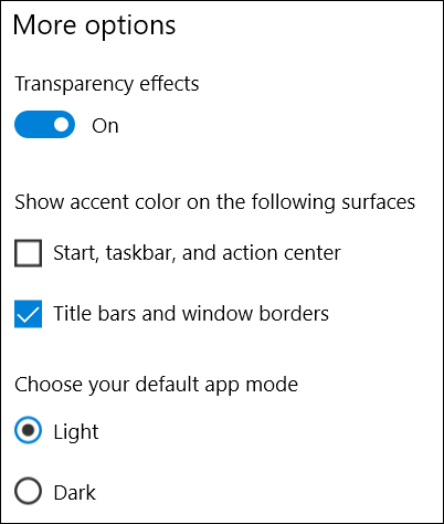 choose where to show accent colors in settings