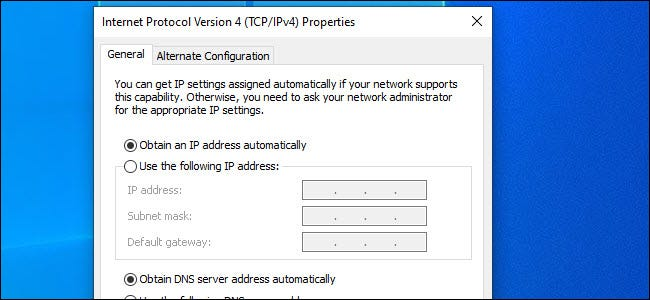 IP4 Dialog with Automatic settings selected
