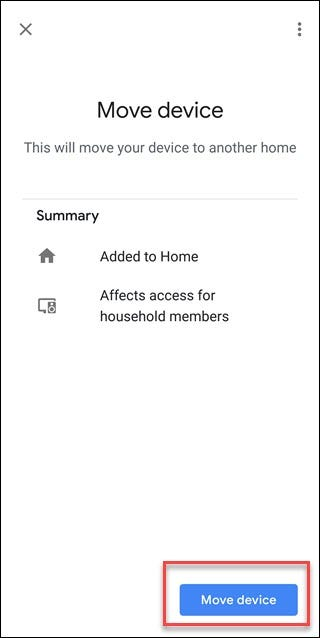 Google assistant screen with box around Move device option