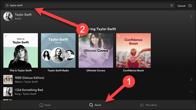Spotify app with arrows pointing at search bar and search button