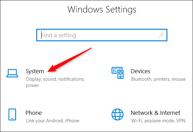 click system option in settings
