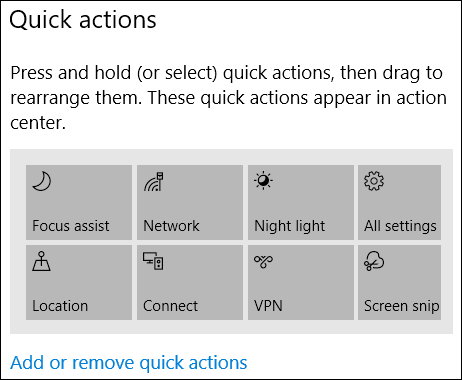 available quick actions shown in settings app