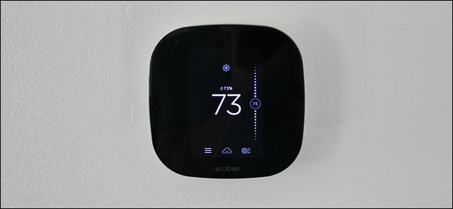 Ecobee intelligent thermostat on the wall