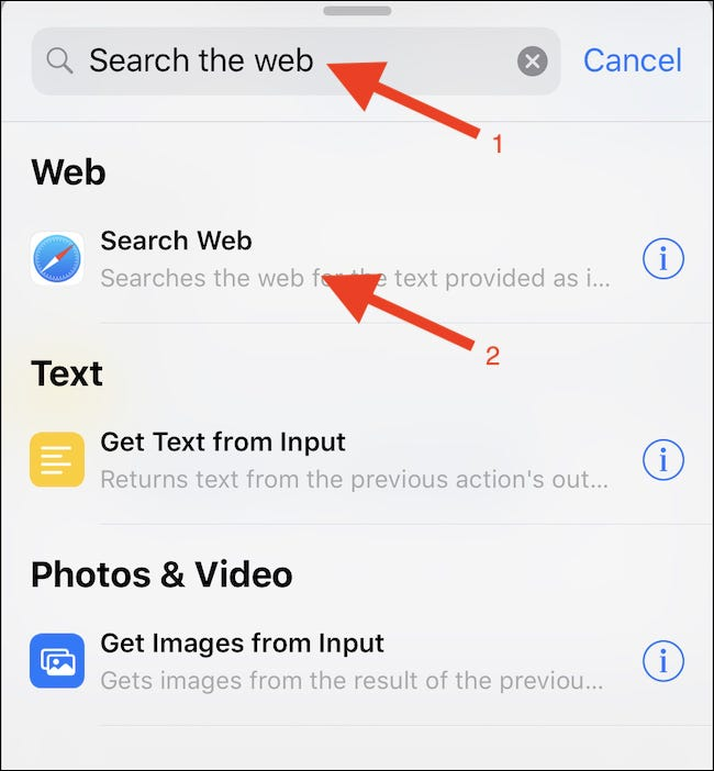 """Search for a """"Search Web"""" action and tap it."""