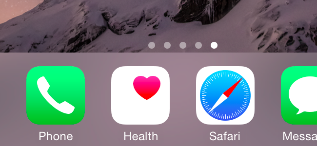 Health app in iPhone Dock