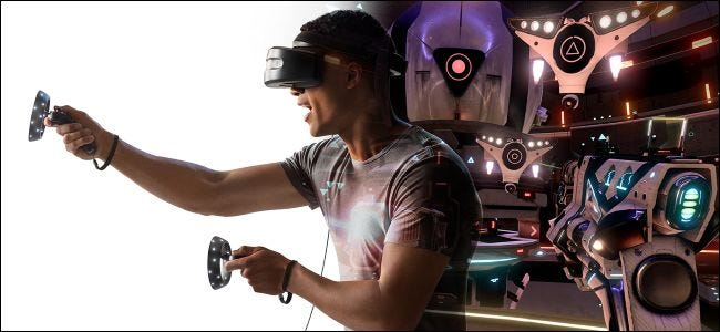 Man using Mixed Reality headset and controllers
