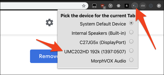picking an output device for the current tab