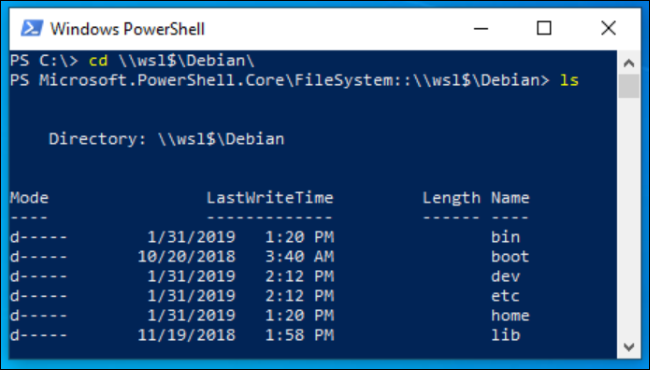 Linux files displayed in PowerShell