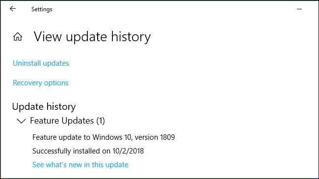 The latest installed feature update in Windows 10's settings