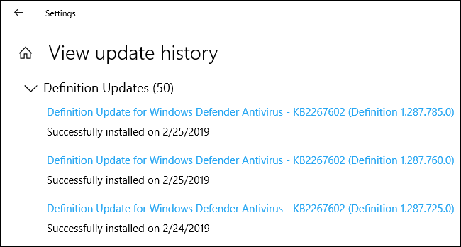 Update history showing malware definition updates on Windows 10