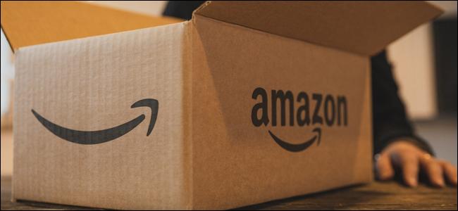 An Amazon box on a table