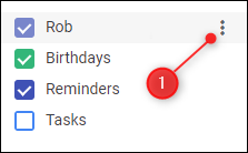 The 3 dots for the Google Calendar to be shared