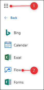 The O365 app launcher and Flow tile