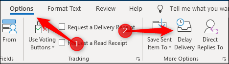 The Options > Delay Delivery button