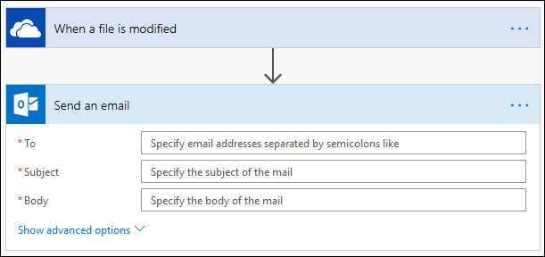 "The ""Send an email"" action options"