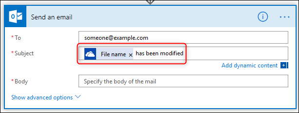 The Subject field with dynamic content and text