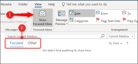 The Focued Inbox tabs