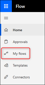 """The side menu showing """"My Flows"""""""