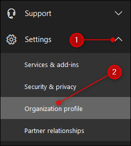 The Settings and Organisation profile options