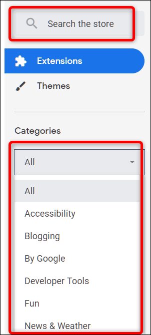 Use the Search bar or browse by category