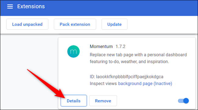 Click Details button for the extension you want to manage