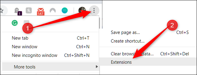 Click Menu icon, point to more tools, then click extensions