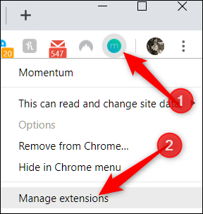 Right-click extension icon, then click manage extensions