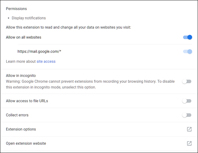 A Chrome extension's management settings