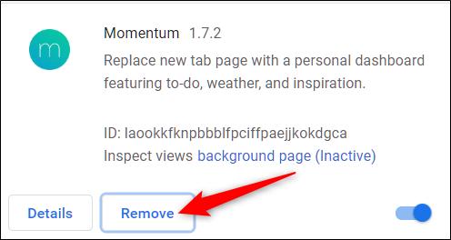Click remove icon to remove extension