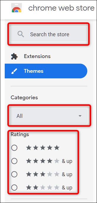 Find a theme using the search bar, or by categories and rating