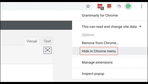 Hiding an extension in the Chrome menu