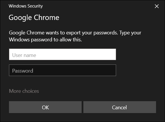 Enter your computer's username and password credentials to continue