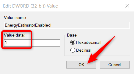 Set the Value Data field to 1, then click OK