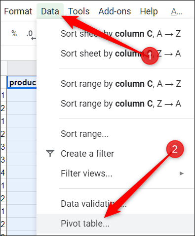 "From the menu bar, click ""Data,"" then click on ""Pivot Table."""
