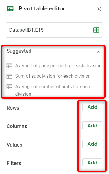 Choose between suggested pivot tables, or create your own custom pivot table.