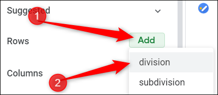 """Click """"Add"""", then choose which rows you want added to you table."""