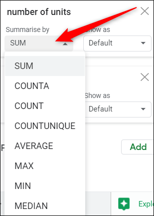 Click the drop-down menu of any value to choose how you want them to appear in the table.