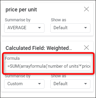 In the box provided, enter a custom formula for your data