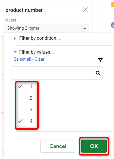 "Choose how you want to filter the data, then click ""OK."""