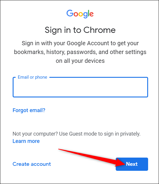 "Enter your Google account and hit ""Next."""